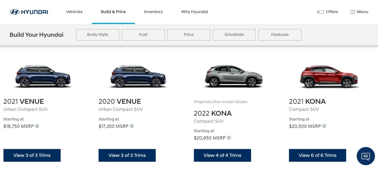 """Hyundai Motor's online car purchasing platform """"Click to Buy"""" for markets including the United States, Russia, India and Australia, but not South Korea (Screen capture from Hyundai Motor USA website)"""