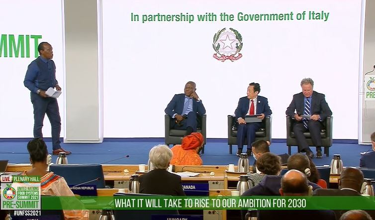Seated from left: Gilbert Houngbo, president of the International Fund for Agricultural Development, Qu Dongyu, director-general of the UN Food and Agricultural Organization, and David Beasley, executive director of the World Food Program, are shown in this still from a video of the Pre-Summit of the United Nations Food Systems Summit, in Rome in July. (Agriculture Ministry of Korea)