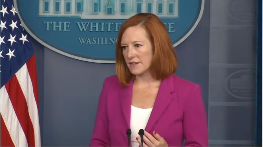 White House spokeswoman Jen Psaki is seen answering questions in a daily press briefing at the White House on Wednesday, in this image captured from the website of the White House. (Yonhap)