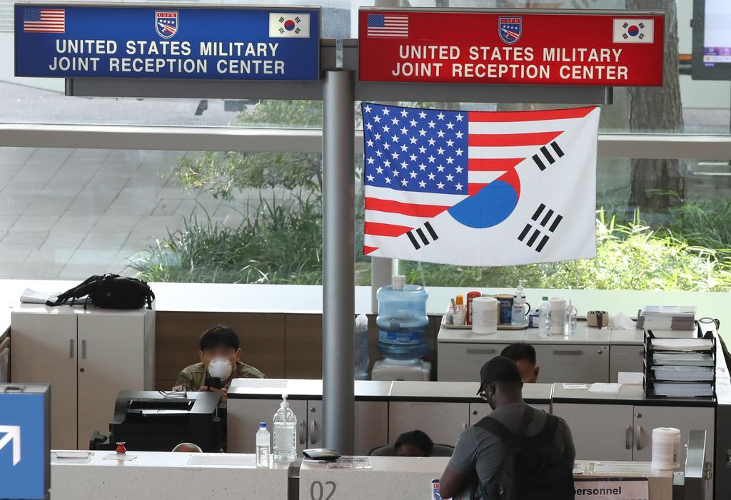 This photo taken on July 14, 2021, shows a reception center for US military members set up at Incheon International Airport, west of Seoul. (Yonhap)