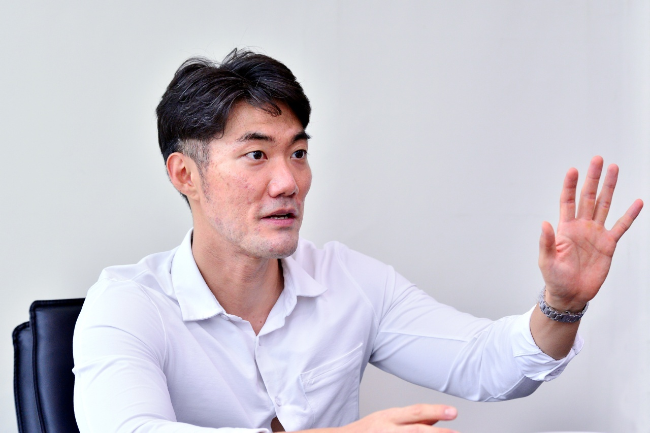 Dongnam Construction Chemical CEO speaks during an interview with the Korea Herald at the company office in Pangyo, Gyeonggi Province, Wednesday. (Park Hyun-koo/The Korea Herald)