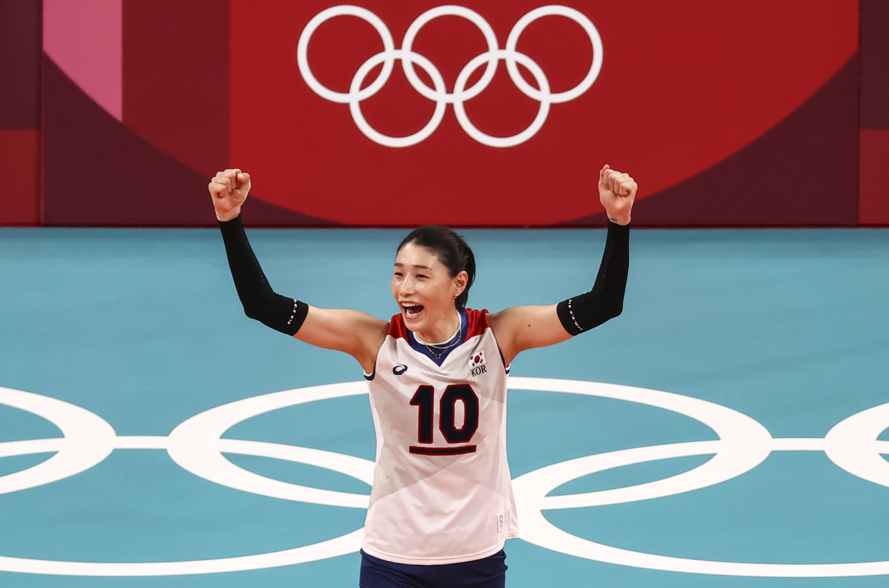 South Korean attacker Kim Yeon-koung reacts after scoring during a women's preliminary round Pool A match against Serbia at the Tokyo Olympics at Ariake Arena in the Japanese capital on Monday. (Yonhap)