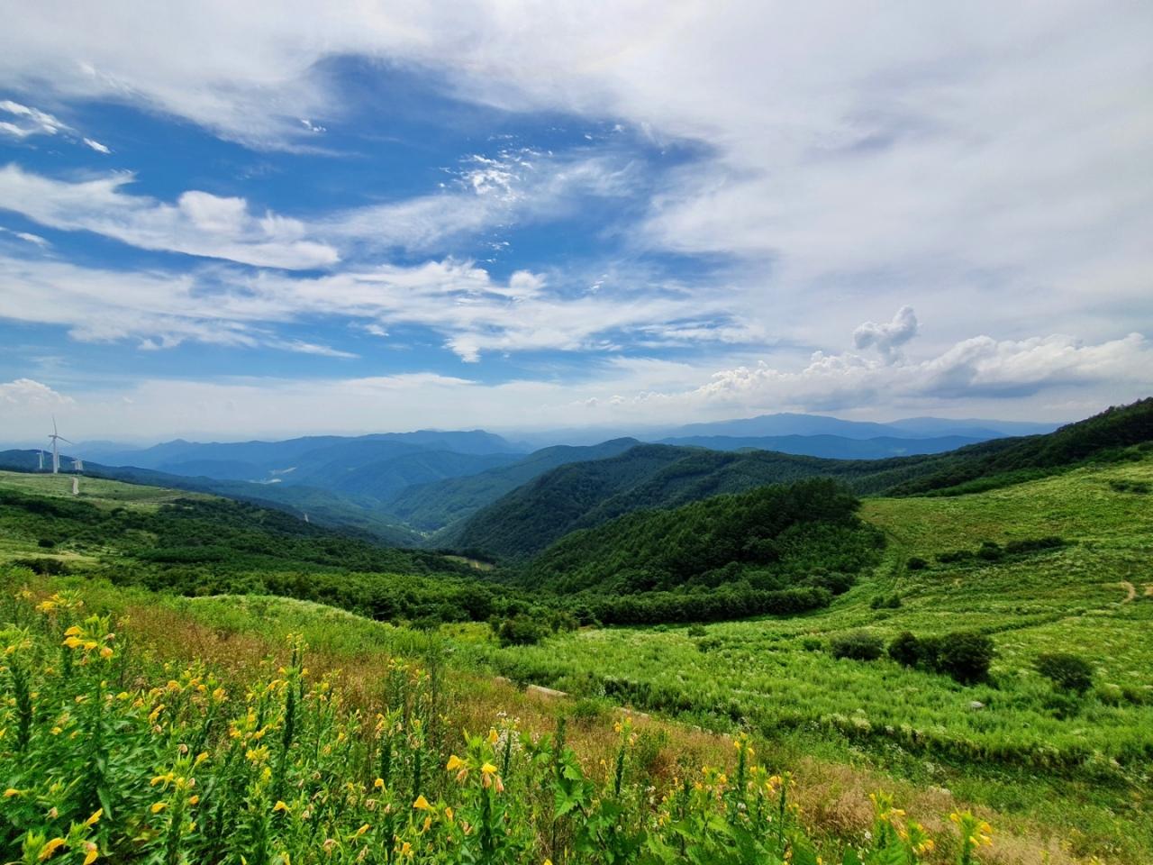 View from 600 Majigi spot at Cheongoksan in PyeongChang, Gangwon Province (Im Eun-byel / The Korea Herald)