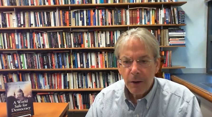 In this captured image John Ikenberry, professor of politics and international affairs at Princeton University, speaks with The Korea Herald in an interview via Zoom.