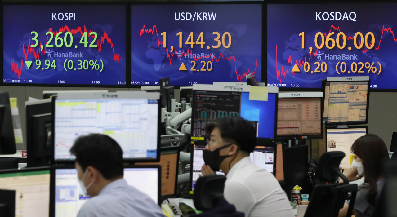 Electronic signboards at the trading room of Hana Bank in Seoul show the benchmark Kospi closed at 3,260.42 on Monday, down 9.94 points or 0.3 percent from the previous session's close. (Yonhap)