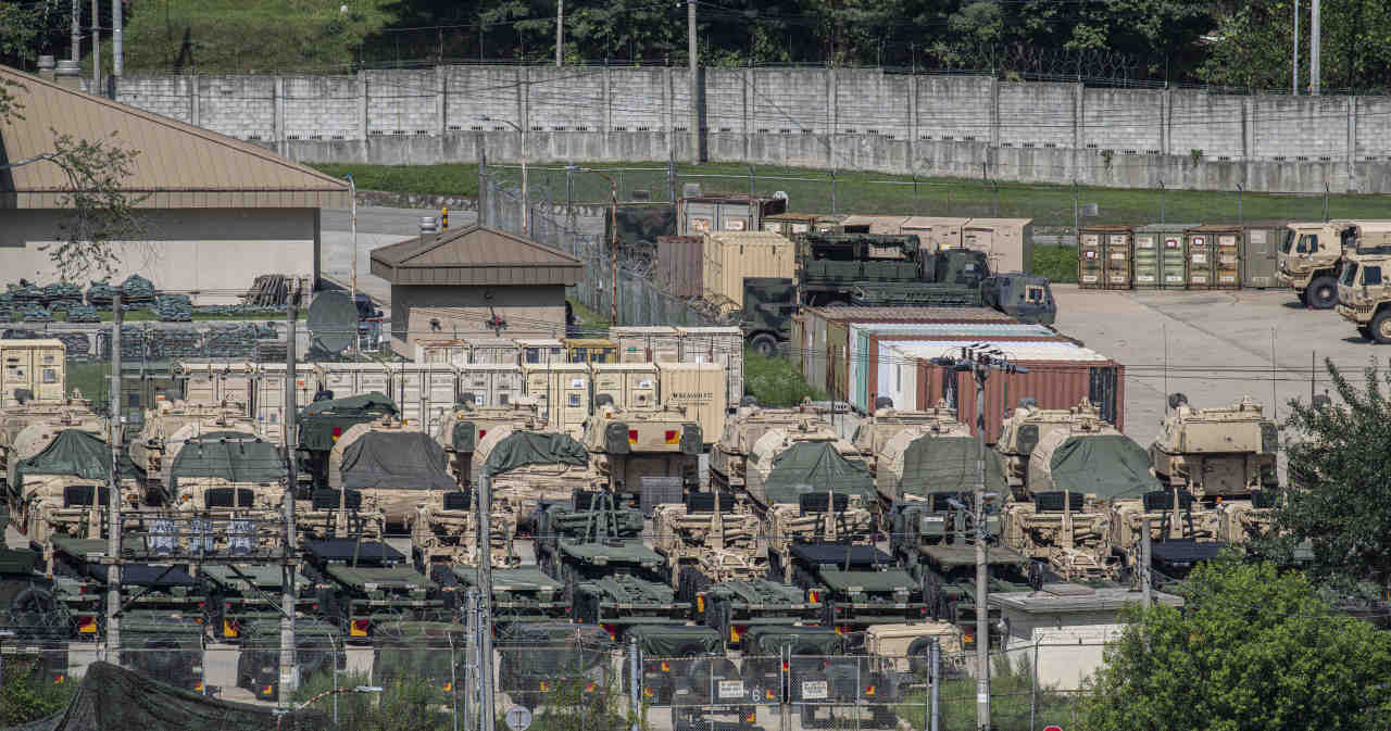 This photo, taken Aug. 5, 2021, shows military vehicles at US military base Camp Casey in Dongducheon, 40 kilometers north of Seoul. (Yonhap)