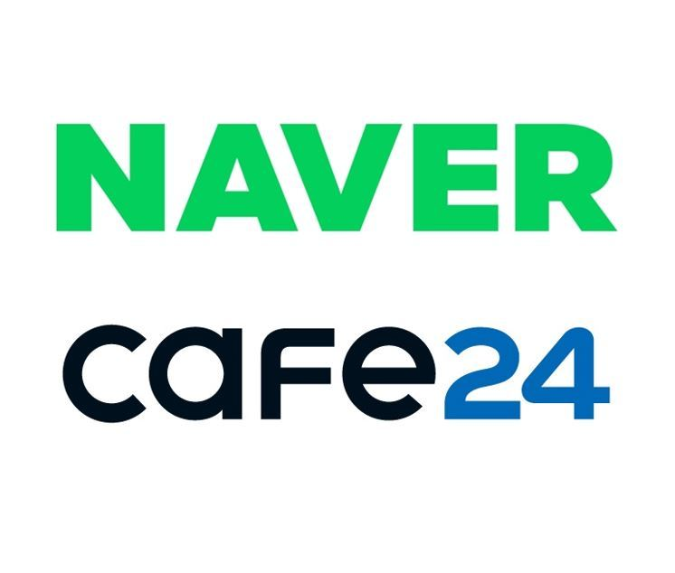 Logos of Naver (top) and Cafe24