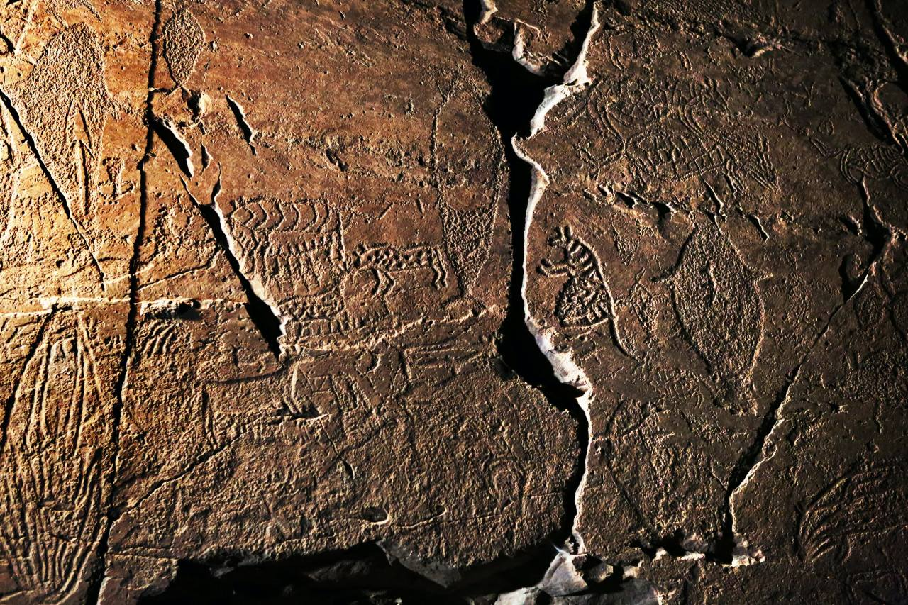 Stone Age rock art, believed to be the oldest remaining rock art in the world, is seen at the Bangudae Petroglyphs site in Ulsan. (Courtesy of Kang Hyung-won)