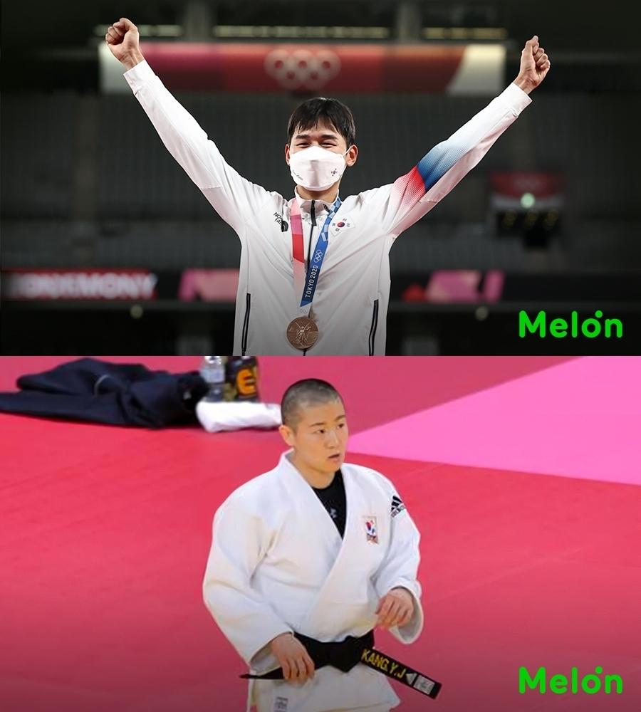 Jun Woong-tae (top) and Kang Yu-jeong at the 2020 Tokyo Olympics (Melon)