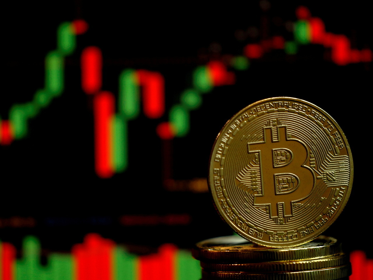 An illustration depicts Bitcoin. (Yonhap)