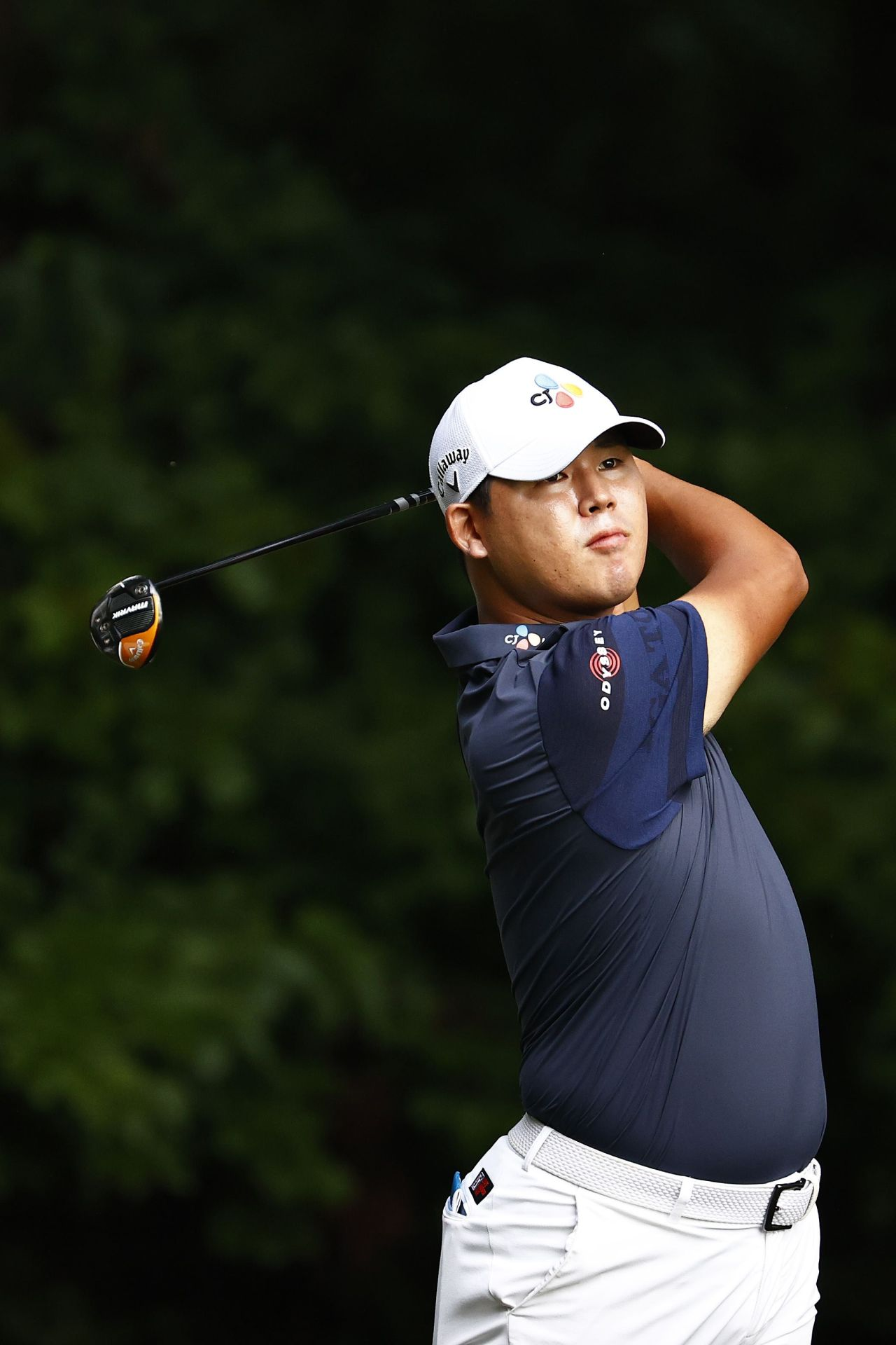 Kim Si-woo plays his shot from the second tee during the final round of the Wyndham Championship at Sedgefield Country Club on Sunday in Greensboro, North Carolina. (AFP-Yonhap)