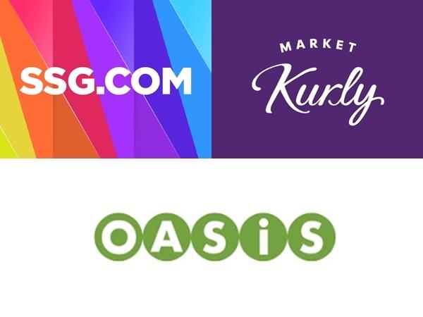 Logos of SSG.com, Market Kurly and Oasis