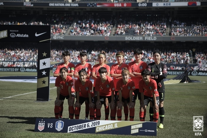 This photo provided by the Korea Football Association on Aug. 19, 2021, shows South Korea's starting XI against the United States in a women's football friendly at Soldier Field in Chicago on Oct. 6, 2019. (Korea Football Association)