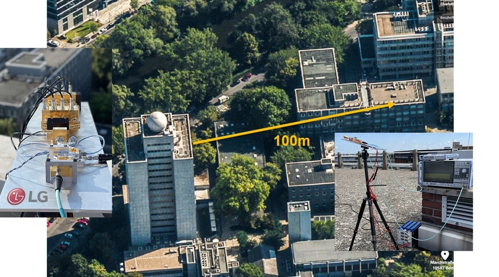 This photo taken on Wednesday, shows the company's demonstration of 6G terahertz wireless communication in Berlin. (LG Electronics Inc.)