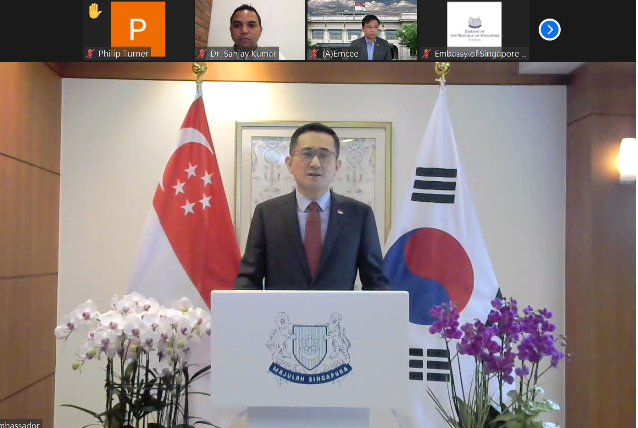Singapore's Ambassador to South Korea Eric Teo delivers welcoming remarks at the virtual National Day reception Wednesday via Zoom. (Screen capture)