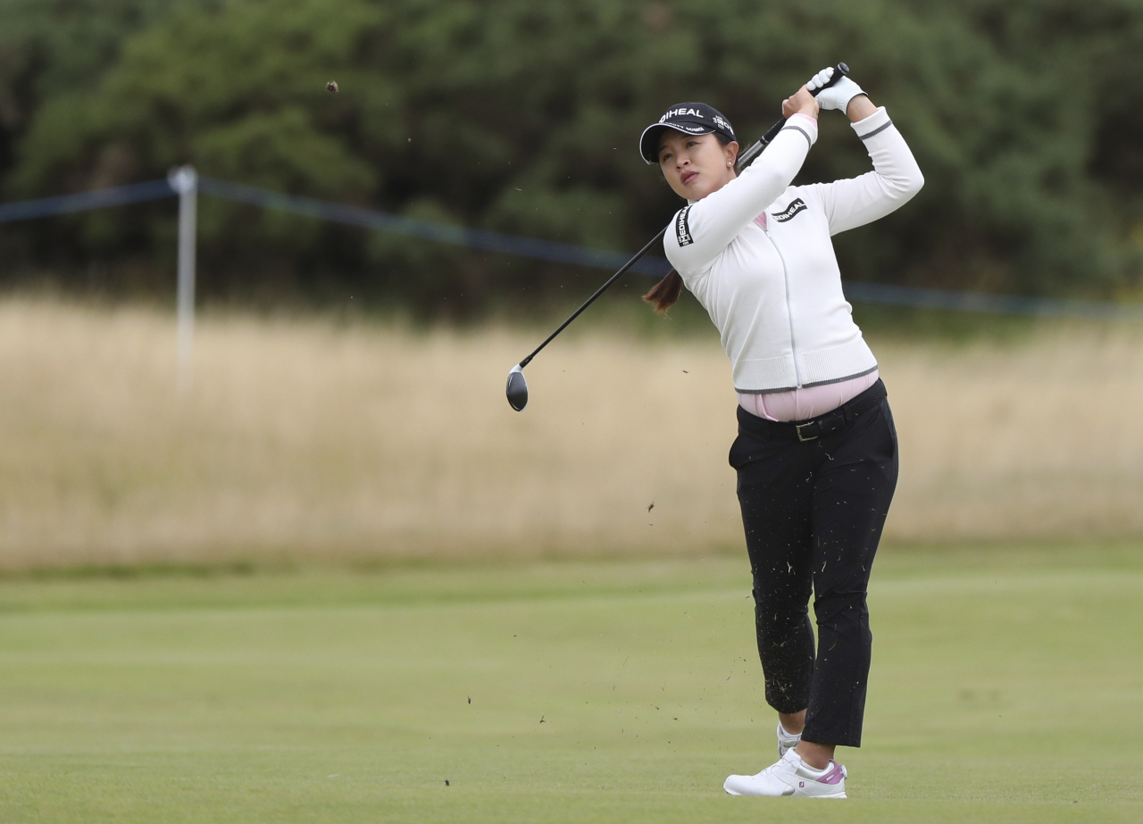 In this Action Images photo via Reuters, Kim Sei-young of South Korea hits a shot during the first round of the AIG Women's Open at Carnoustie Golf Links in Carnoustie, Scotland, on Thursday. (Yonhap)