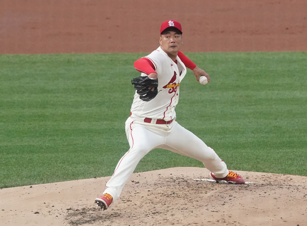 In this UPI photo, Kim Kwang-hyun of the St. Louis Cardinals pitches against the Kansas City Royals in the top of the second inning of a Major League Baseball regular season game at Busch Stadium in St. Louis on Aug. 7, 2021. (Yonhap)