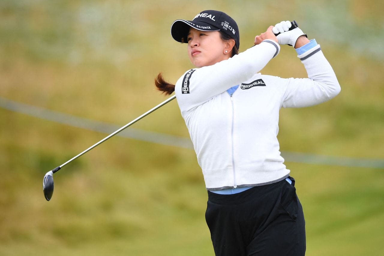 In this Associated Press photo, Kim Sei-young of South Korea hits a tee shot on the fifth hole during the third round of the AIG Women's Open at Carnoustie Golf Links in Carnoustie, Scotland, last Saturday. (AP-Yonhap)