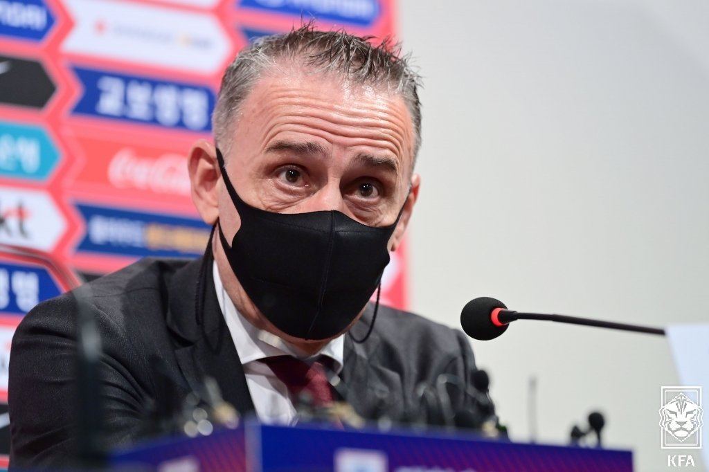 Paulo Bento, head coach of the South Korean men's national football team, speaks at an online press conference on Monday, in this photo provided by the Korea Football Association. (Korea Football Association)
