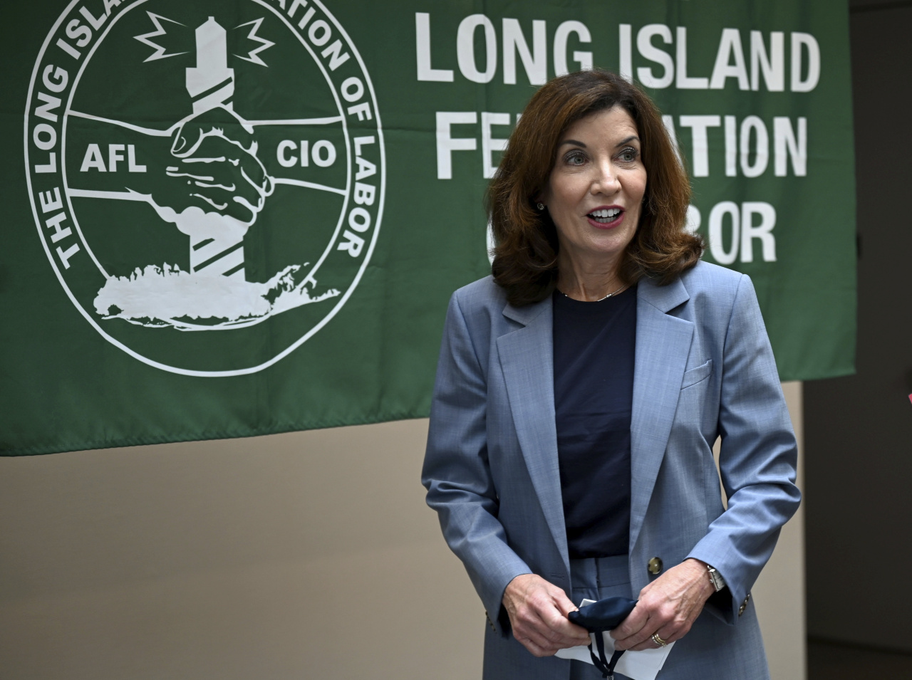 New York Lt. Gov. Kathy Hochul addresses the media after a meeting with Long Island labor leaders in Hauppauge, N.Y., on Friday. (AP)