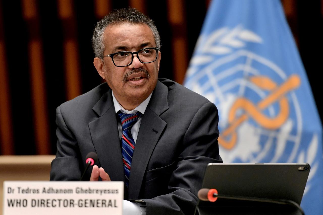 World Health Organization (WHO) Director-General Tedros Adhanom Ghebreyesus attends a news conference in Geneva Switzerland July 3, 2020. (AFP)