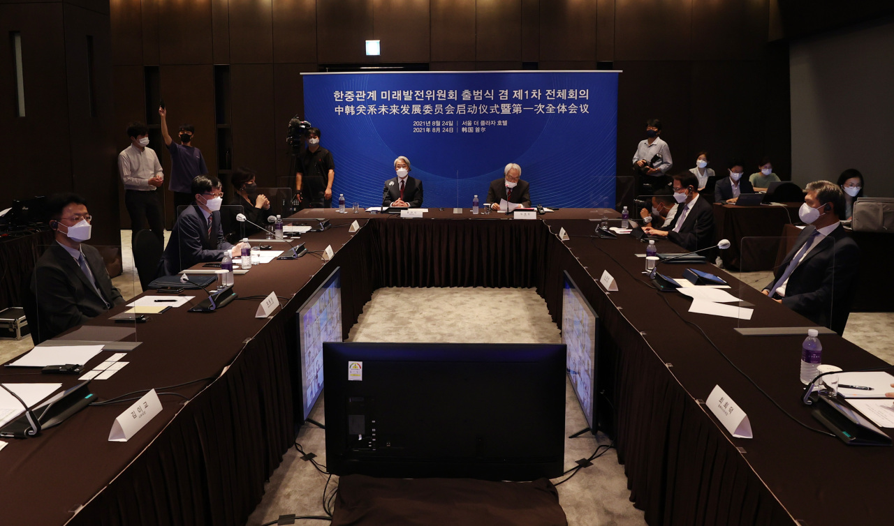 The inauguration session of the Committee for Future-Oriented Development of Korea-China Relations is in progress at a hotel in Seoul on Tuesday. (Yonhap)