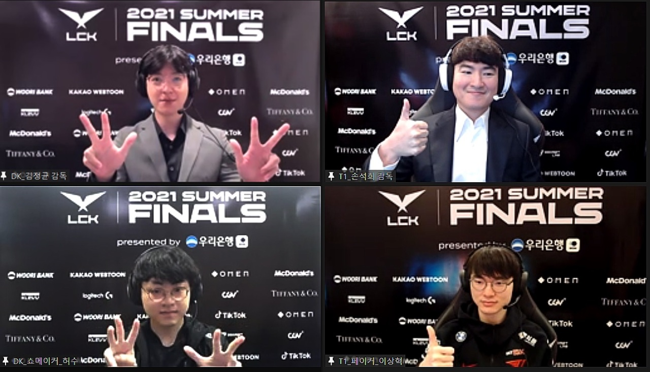 """(Clockwise from top left) Coach Kim """"kkOma"""" Jeong-gyun of Damwon Kia, coach Son """"Stardust"""" Seok-hee of T1, Lee """"Faker"""" Sang-hyeok and Heo """"Showmaker"""" Su attend an online press conference Tuesday. (LCK)"""