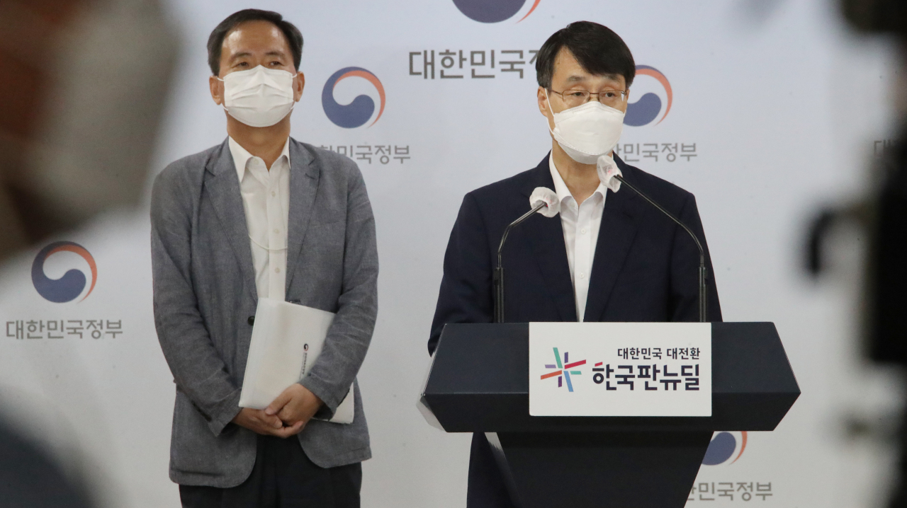 Officials from the Ministry of Culture, Sports and Tourism and the Ministry of Gender Equality and Family speak during an online press event held Wednesday at the government complex in Gwanghwamun, central Seoul. (Yonhap)