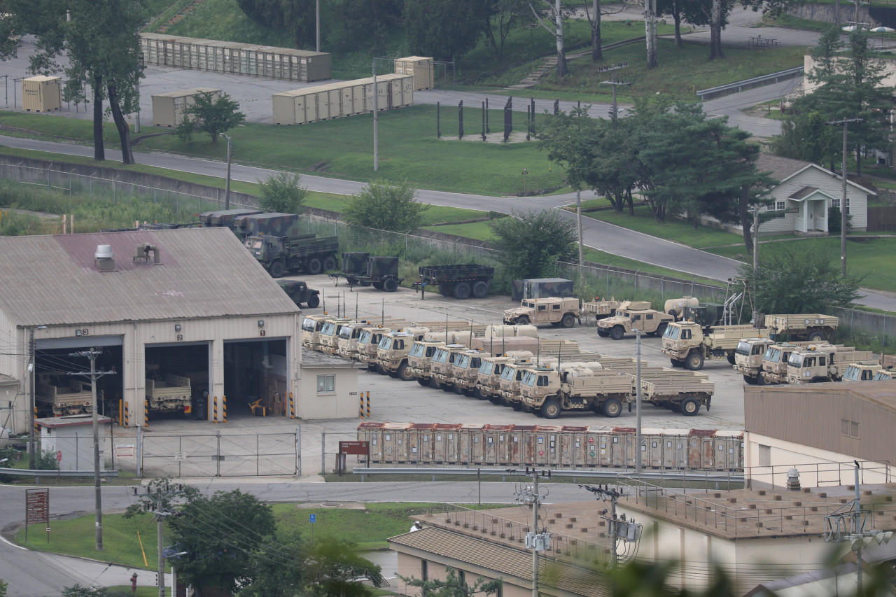 This file photo, taken Aug. 3, 2021, shows military vehicles at US military base Camp Casey in Dongducheon, 40 kilometers north of Seoul. (Yonhap)