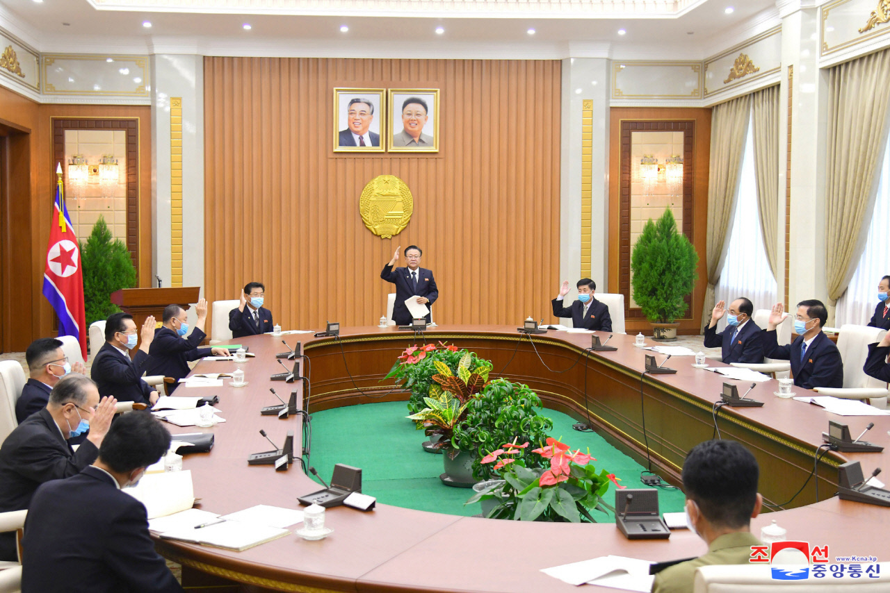 North Korea holds the 16th Plenary Meeting of the 14th Standing Committee of the Supreme People's Assembly (SPA) at the Mansudae Assembly Hall in Pyongyang on Tuesday. (Korean Central News Agency)