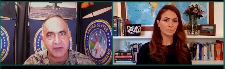 Adm. Charles Richard (L), commander of the U.S. Strategic Command, is seen speaking in a webinar hosted by the Hudson Institute on Friday, in this image captured from the website of the Washington-based think tank. (Yonhap)