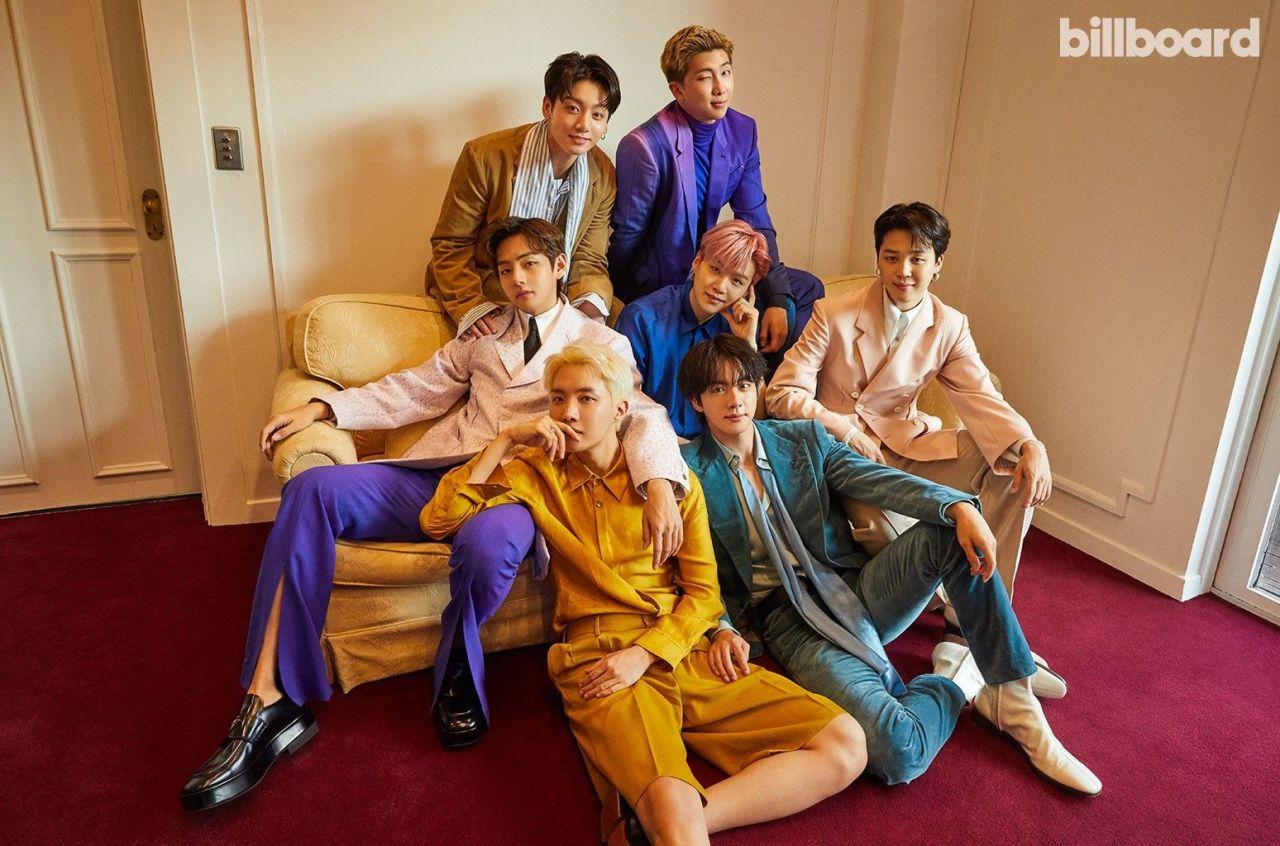 This photo provided by Billboard Magazine shows K-pop band BTS. (Billboard Magazine)