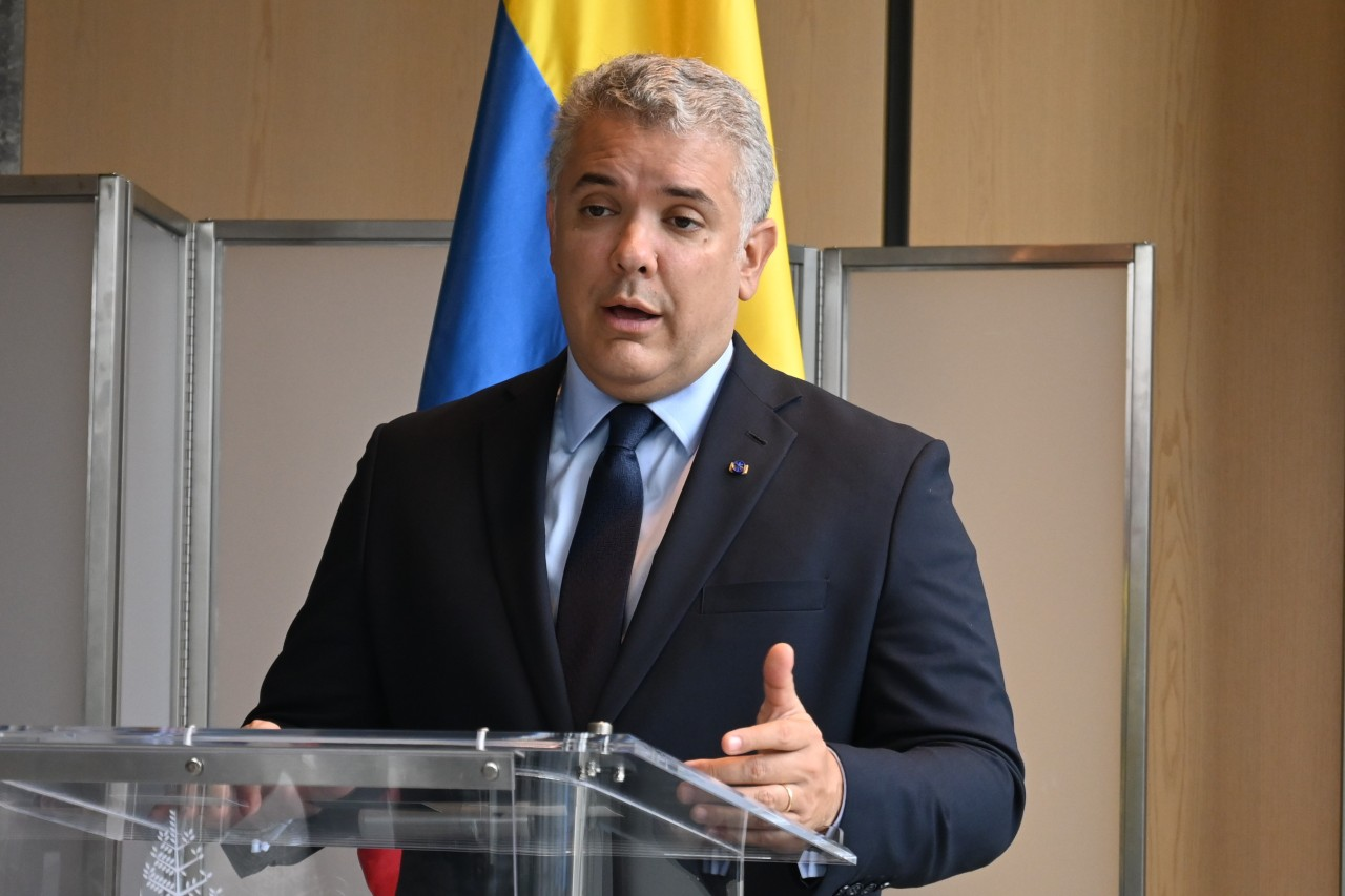 Colombian President Ivan Duque addresses a press conference in Central Seoul Thursday. (Sanjay Kumar/The Korea Herald)