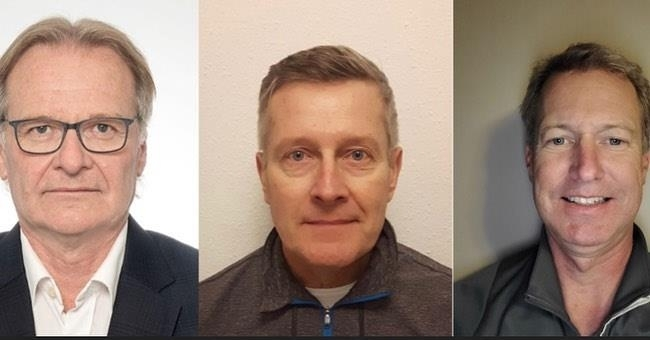 This combined image provided by the Korea Curling Federation shows national team coaches Armin Harder (from left), Peter Gallant and Wade Scoffin (R).(Yonhap)