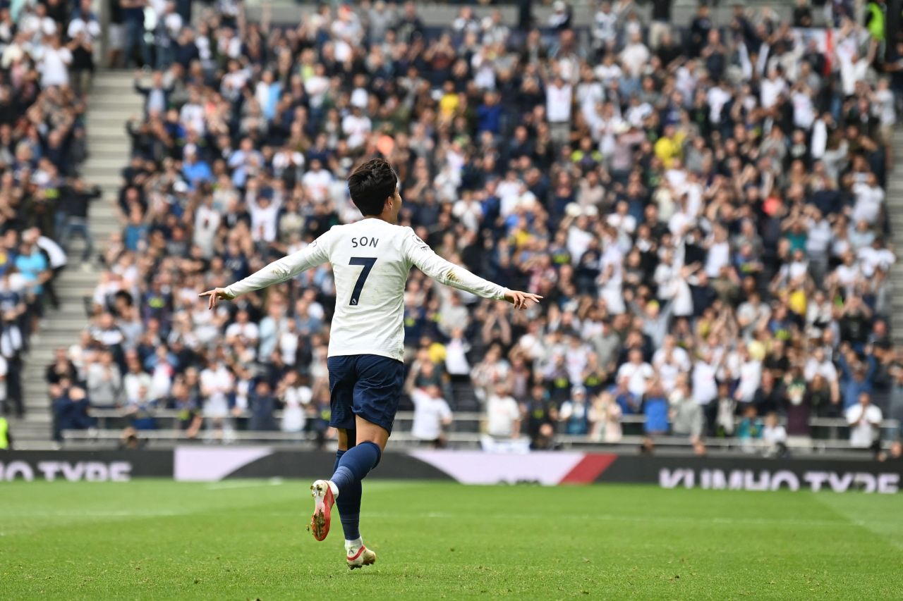 In this AFP photo, Son Heung-min of Tottenham Hotspur celebrates his goal against Watford during the clubs' Premier League match at Tottenham Hotspur Stadium in London on Sunday. (AFP-Yonhap)