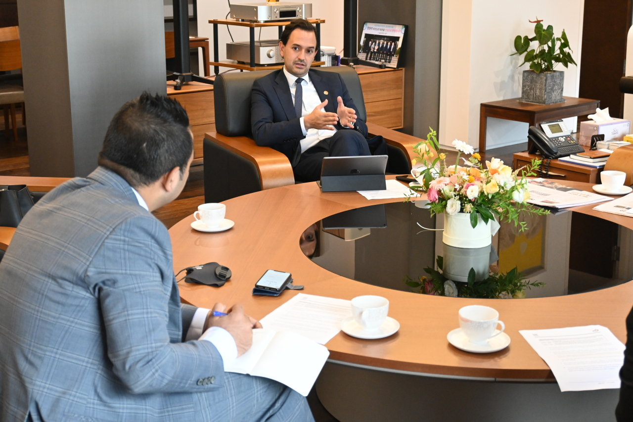 Colombian Minister of Energy and Mining Diego Mesa speaks with The Korea Herald on Wednesday.