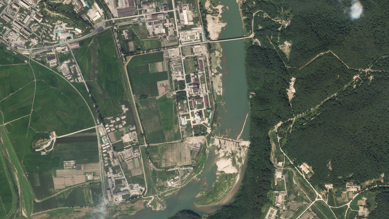 In this satellite photo released by Planet Labs Inc., North Korea's main nuclear complex is seen in Yongbyon, North Korea, just north of the capital, Pyongyang, July 27, 2021. (Planet Labs Inc. via AP-Yonhap)