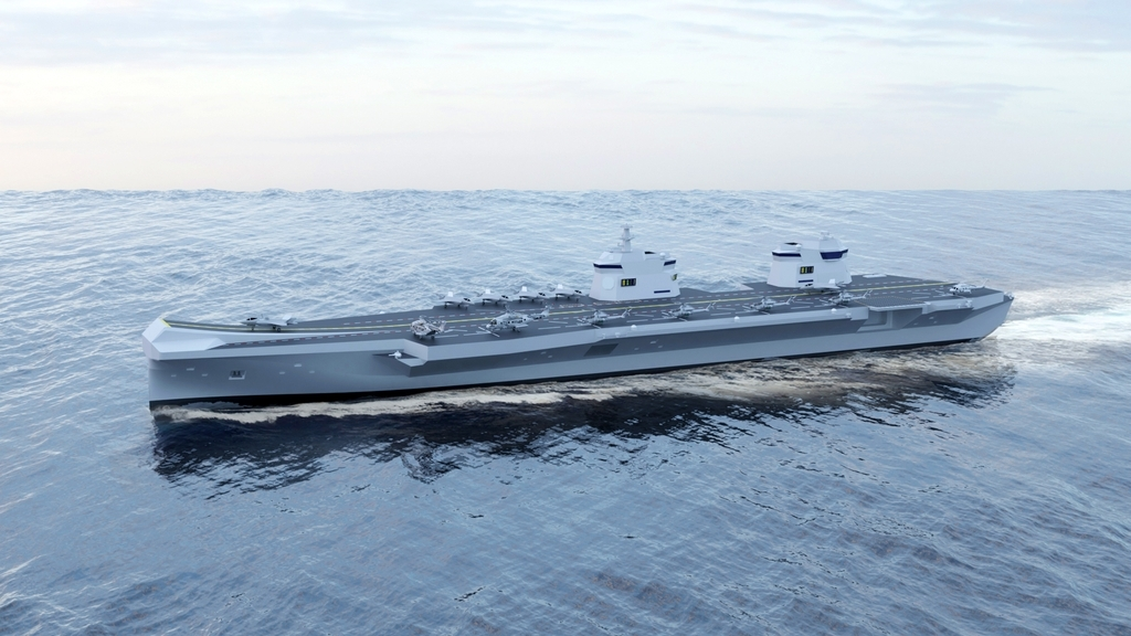 This image provided on Wednesday, shows an aircraft carrier model proposed by the shipbuilder. (Hyundai Heavy Industries Co.)
