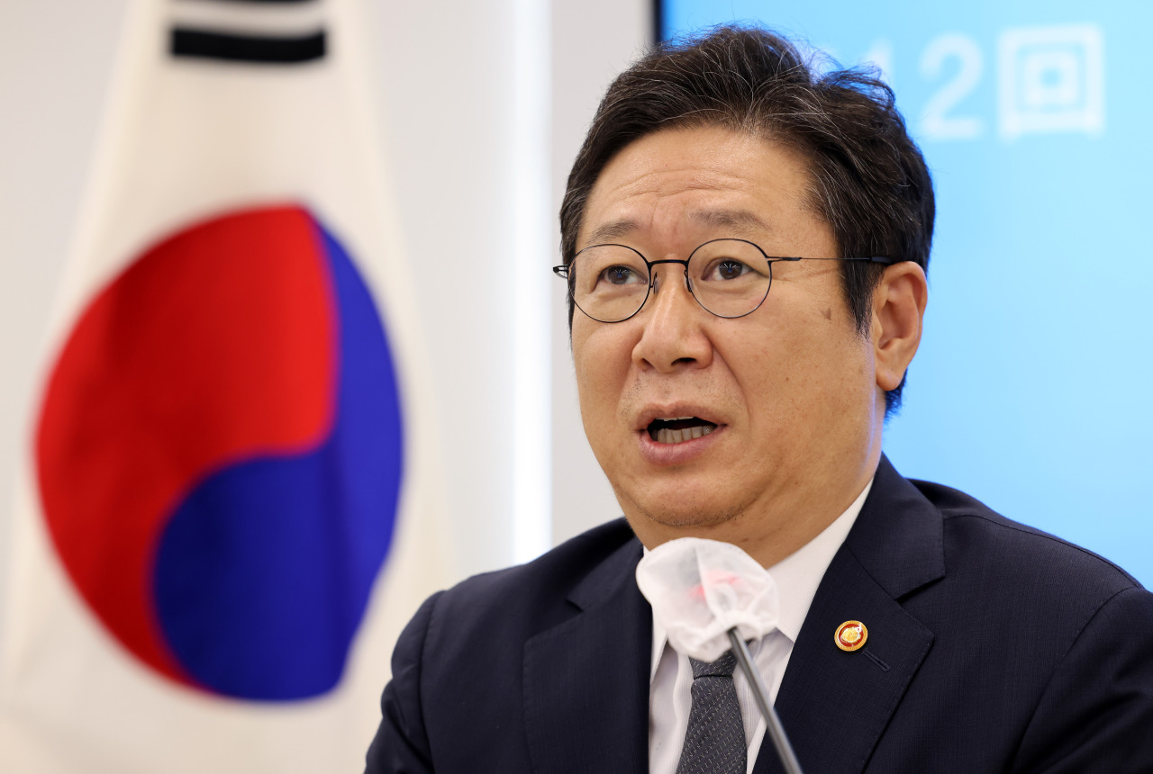 Culture Minister Hwang Hee speaks at an online conference held for the culture ministers of Korea, China and Japan at the National Museum of Modern and Contemporary Art in central Seoul on Monday. (Culture Ministry)