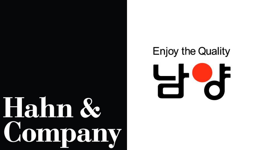 A logo of Hahn & Co. and Namyang Dairy Products