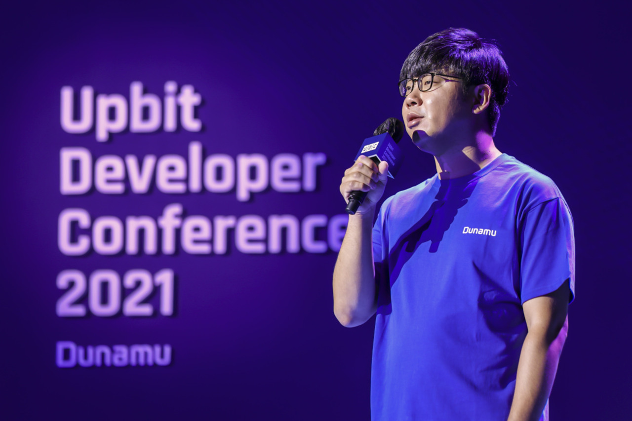 Song Chi-hyung, chairman of Dunamu, speaks during the 4th Uppit Developer Conference on Wednesday. (Dunamu)