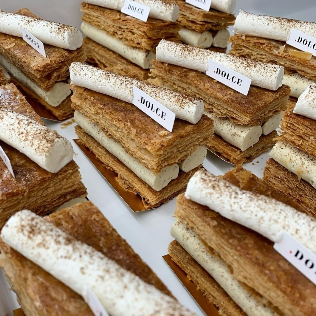 Punto Dolce's millefoglie, called diplomatica, features two stacks of impossibly thin layers of puff pastry that swaddle a lush filling of salted caramel and vanilla-rich cream. (Photo credit: Soojoo Kim)
