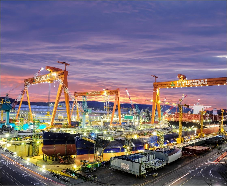 An exterior view of shipyard of Hyundai Heavy Industries (Hyundai Heavy Industries)