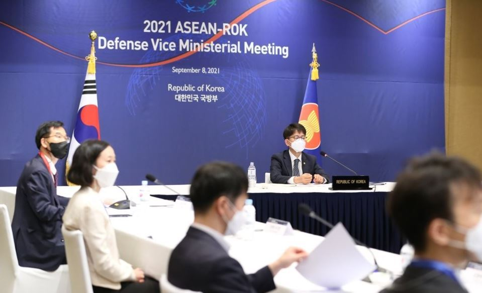 South Korean Vice Defense Minister Park Jae-min (right) attends a defense dialogue with the Association of Southeast Asian Nations on Sept. 8, 2021, in this photo provided by the defense ministry. (Yonhap)