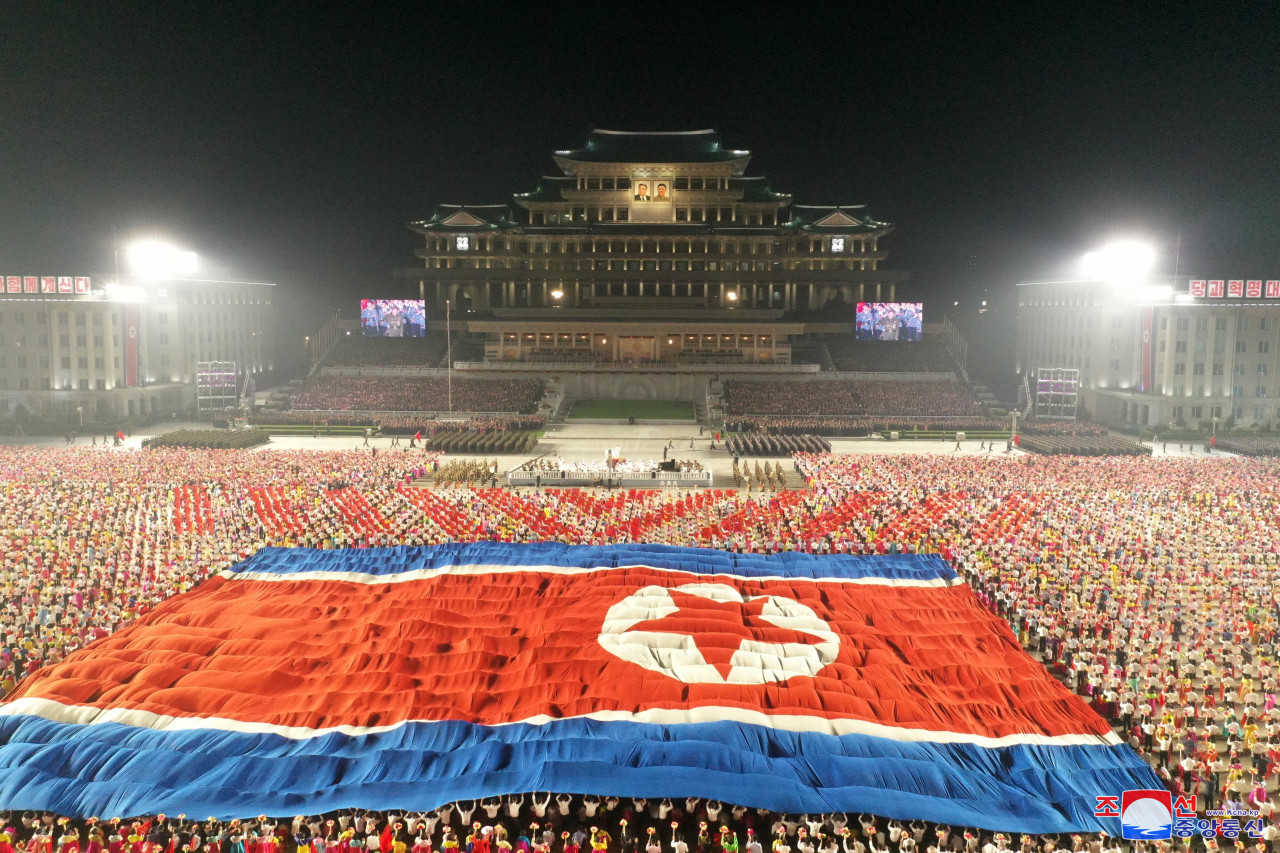 North Korea holds a military parade to celebrate its 73rd anniversary of its founding on Thursday. (KCNA-Yonhap)