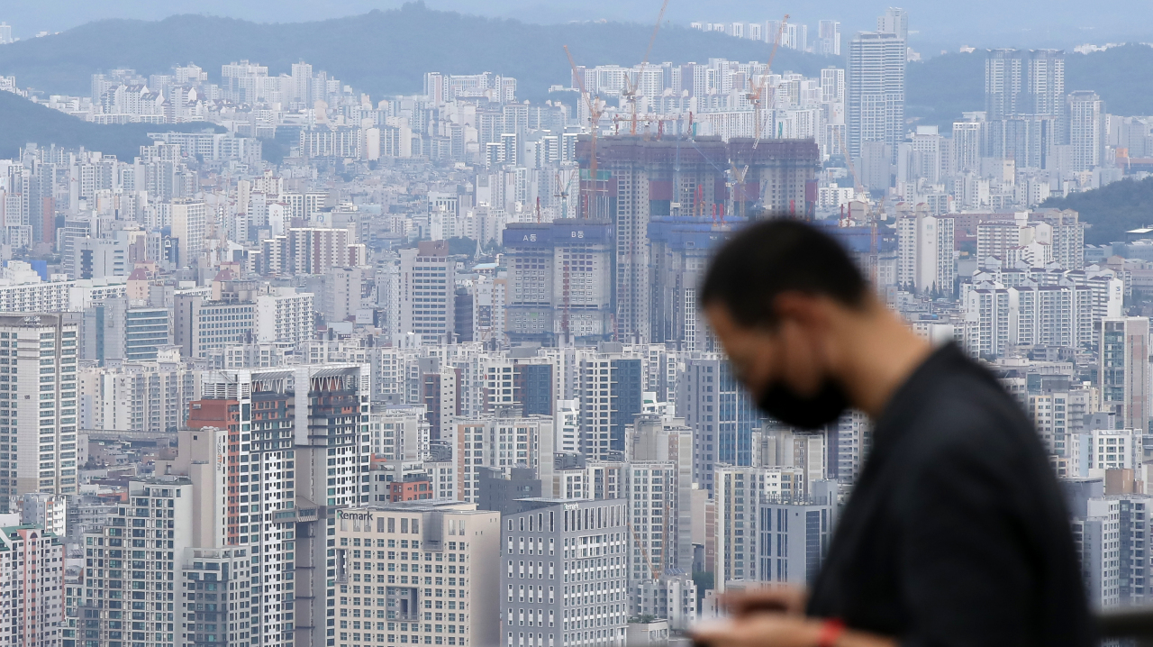 Aerial view of apartment complexes in central Seoul (Yonhap)