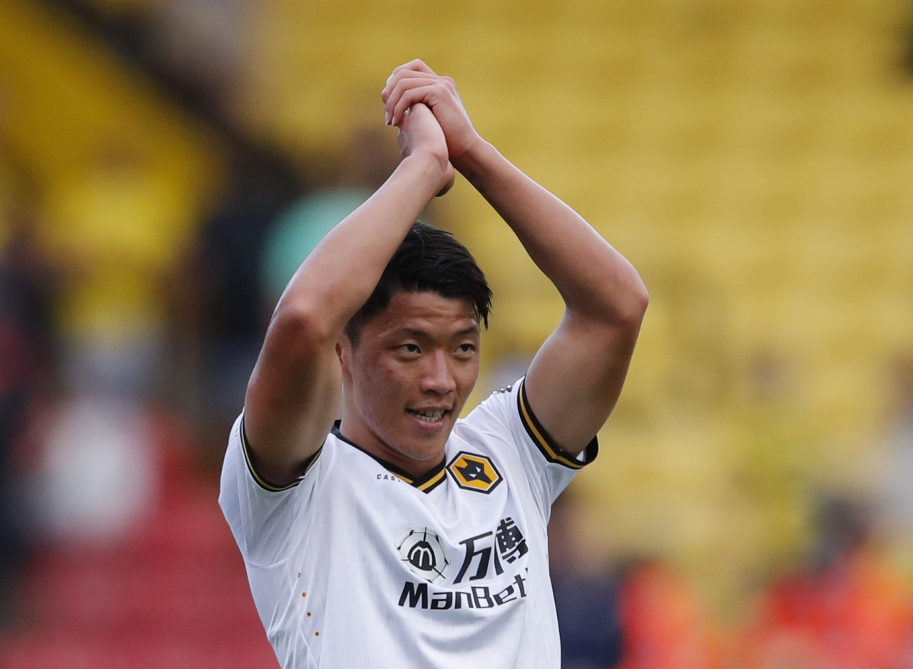 In this Action Images photo via Reuters, Hwang Hee-chan of Wolverhampton Wanderers celebrates after the club's 2-0 victory over Watford in a Premier League match at Vicarage Road in Watford, England, on Sept. 11, 2021. (Yonhap)