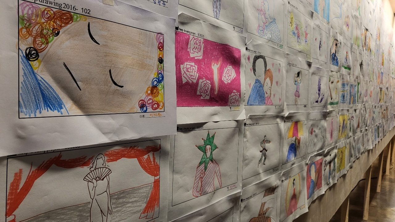 Finished drawings of visitors are on display at the DIY webtoon drawing events. (Kim Hae-yeon/The Korea Herald)