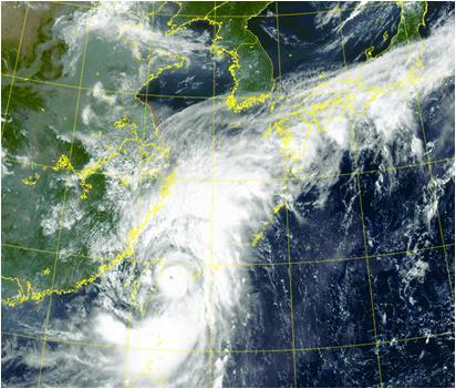 This satellite image, provided by the Korea Meteorological Administration, shows Typhoon Chanthu at 9 a.m. on Sept. 12, 2021. (PHOTO NOT FOR SALE) (Yonhap)