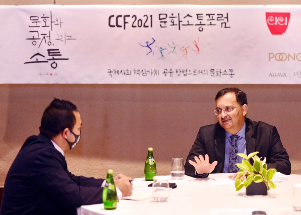 Dinesh Patnaik, director general of the Indian Council for Cultural Relations, speaks during a recent interview with The Korea Herald at the Grand Hyatt Hotel in Yongsan-gu on Sept. 1. (Park Hyun-koo/The Korea Herald)